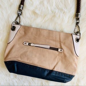 The Sak Leather Two Toned Tan Navy Purse Braided